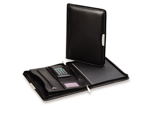 Promotional Product Classic Zip Leather Compendium W/ Calc & Silver Trim